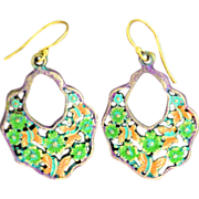 Chimayo, Hand-Patinaed, Purple, Butterfly and Flower Earrings
