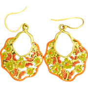 Chimayo Hand-Patinaed, Orange, Gold Tone Butterfly and Flower Earrings