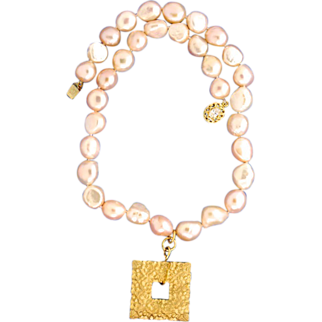 Wedding Collection: Baroque, Cultured Freshwater, Peach Colored Pearl and Hand-Patinaed Natural Brass Necklace