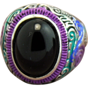 Stainless Steel Hand-Patinaed Black Glass Ring
