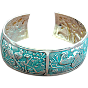 Hand-Patinaed Chimayo Bird and Deer Design Bangle