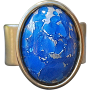 Gold Plated Pewter Denim Blue Cabochon Ring