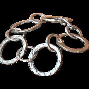 Fine Silver Hammered Hoop Bracelet