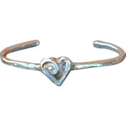 SALE .999 Fine Silver Heart Bangle