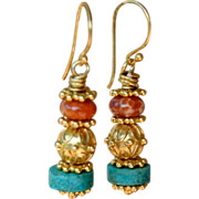 24K Gold Vermeil and Agate Earrings