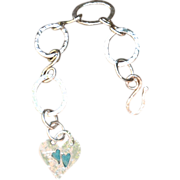 SALE Fine Silver .999 Custom Artisan Made Hand-Patinaed Heart Bracelet