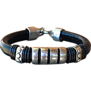 Men's Silver Tone Black Leather Biker Bracelet