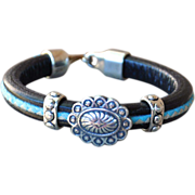 Debutante Biker Fine Silver Concho and Leather Bracelet