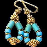 24K Gold Vermeil, Rare, Untreated Sleeping Beauty Turquoise Earrings