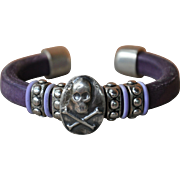 Debutante Biker Bracelet with Silver Skull