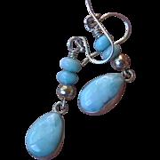 Larimar & sterling teardrop earrings