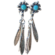 Clip on style Turquoise & Feather Earrings