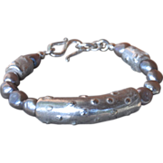 Fine Silver, .999, Fired Over Ceramic and Freshwater Cultured Gray Pearls Bracelet