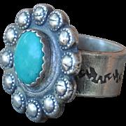 Amazing, Handmade Southwestern Style Hubei Turquoise Ring