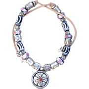Lampwork Beaded Necklace with Bali Silver and Nepalese Rosette