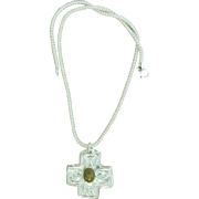 Sterling Cross Necklace with Unakite