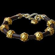 24K Gold Vermeil Beads on Greek Leather Bracelet