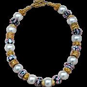 Handmade Lampwork Beads, 24k Gold Vermeil, & Shell Pearl Necklace