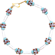 Cultured Freshwater Stick Pearls and Hand-crafted Lampwork Necklace