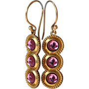 SOLD Tiered Pink Glass Earrings on 24K Ear Wires - Red Tag Sale Item