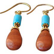 Sleeping Beauty Turquoise & Agate Earrings