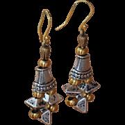 Fine Silver over Ceramic Earrings on Greek Leather