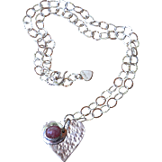 SOLD Silver Heart and Rhodocrosite Necklace