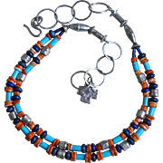 Double Stranded Sleeping Beauty Turquoise & Spiny Oyster Necklace