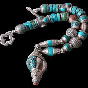 SALE Conch Pendant Repousse Necklace