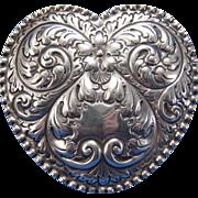 Antique Gorham Large Sterling Heart Shaped Dresser Vanity Box