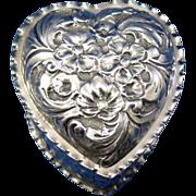 Antique Sterling Heart Dresser, Vanity Patch Box, Heart Shaped London 1897