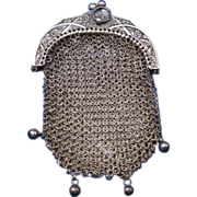 Antique Sterling Miniature Victorian Purse with Hinged interior
