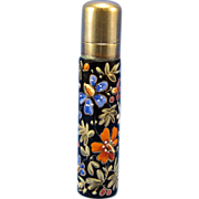 Antique Moser Style Perfume Bottle with Enamel Accents