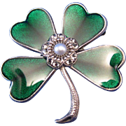 Vintage French Green Enamel and Silver Four Leaf Clover Pin, Brooches