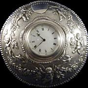 SALE Antique Sterling Clock With Cherubs, Butterfly, Birds, Garland, London, 1888