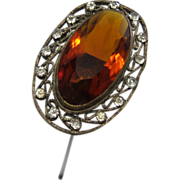 Antique Amber Stone Hatpin with A Ring of Rhinestones Hatpin Hat Pin