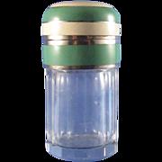 SALE Vintage Art Deco Enamel and Sterling Perfume Powder Jar, Nice!
