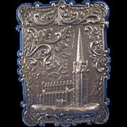 SALE Antique Sterling Castle Top Calling Card Case, C-1850