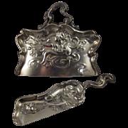 SALE Antique Silver Plate Derby Crumber and Scoop Art Nouveau Design