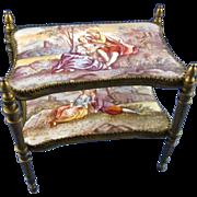 SALE Antique Austrian Enamel Miniature Furniture Two Tiered Table