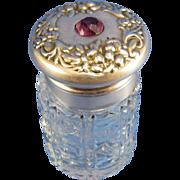 Antique Sterling and Cut Glass Scent Perfume Bottle, Dresser Jar