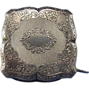 Vintage Sterling Compact with Hidden Lipstick Chased Design, Unusual