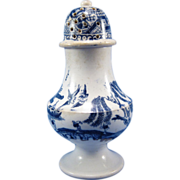 ANTIQUE Early Blue Willow Transferware Pepper Pot, C-1860-80