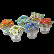 12  Czech Glass Flower Pot Place Card Holders
