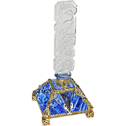 Czech Blue Jeweled Perfume Bottle Peacock Stopper