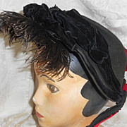 Large Vintage Black Felt Bonnet from late 1800's