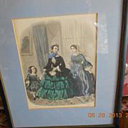 "Large Framed ""La Mode Illustree""  Fashion Print from 1855"