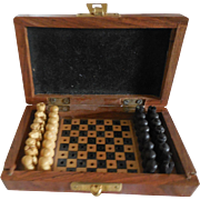 SOLD Small Chess Set in Wood Case for French Fashion - Red Tag Sale Item