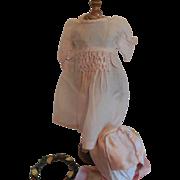 "7"" Pale Pink Silk Dress and Bonnet"