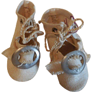Tiny White Cloth Bebe Shoes